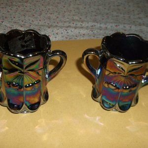 set of 2 mosser carnival glass tooth pick holders